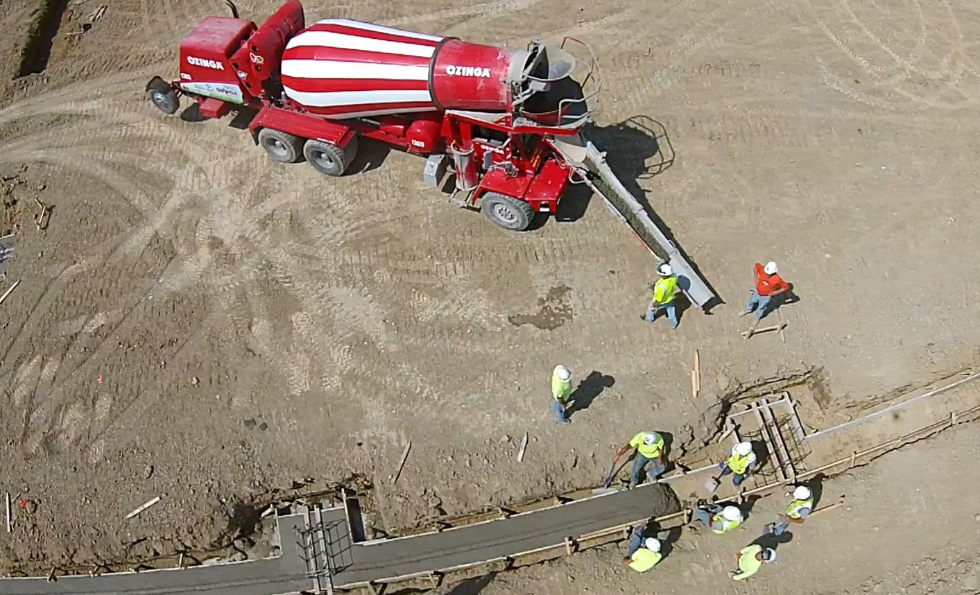 Footage of the first concrete pour for the MOB foundation.